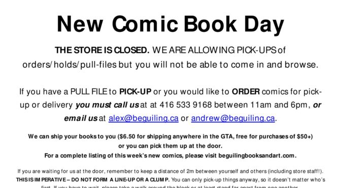 NEW COMICS PICK-UP/ORDER ONLY WED MARCH 25.